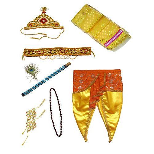 Pakhi Little Krishna Dhoti Dupatta Set - Yellow Set with Orange Fan (3 - 4 Years)