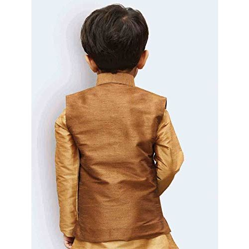 JBN Creation Boys' Coffee Silk Blend Nehru Jacket (VASBJCO006, for 6-12 Months)