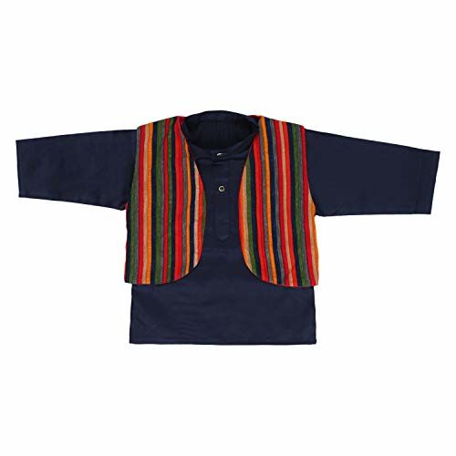 Superminis Baby Boys Colored Cotton Ethnic Wear Kurta with Colorful Stripes Dhoti and Jacket (Navy Blue, 6-12 Months)