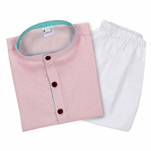 Superminis Baby Boys Ethnic Wear Khadi Cotton Kurta Pyjama Set with Wooden Button (Baby Pink, 3-6 Months)
