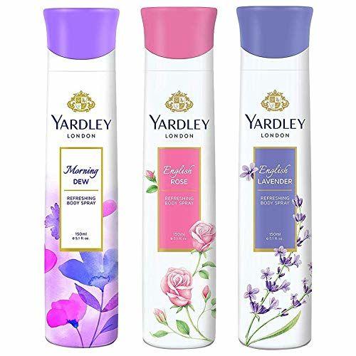 Yardley London Refreshing Deo Body Spray Tripack (English Lavender + English Rose + Morning Dew) for Women, 150ml Each (Pack of 3)