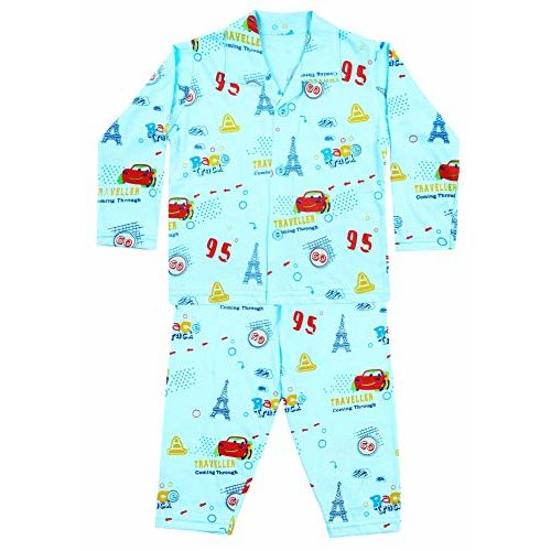 ICABLE Baby Boys and Girls Cotton Cartoon Print Night Shirt and Pyjama Set (Truck Blue, 1-2 Years)