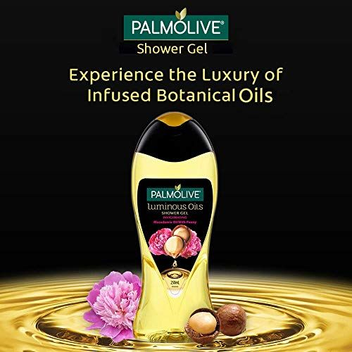 Palmolive Body Wash Luminous Oils Invigorating, 250ml Bottle, Shower Gel with 100% Natural Macadamia Oil & Peony Extracts
