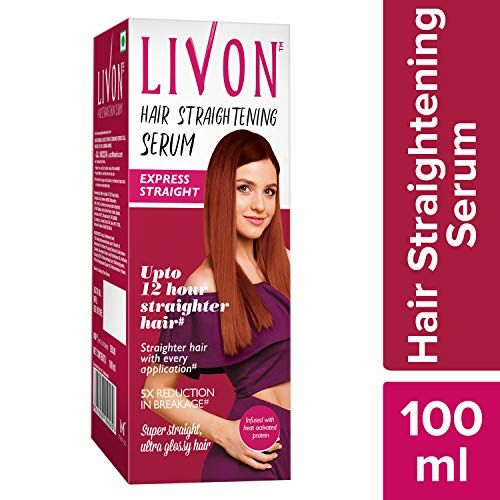 Livon Hair Straightening Serum for Straighter Hair Upto 12 Hours & 5X Less Breakage,With Heat Activated Proteins, 100 ml