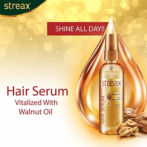 Streax Hair Serum for Women & Men   Contains Walnut Oil   Instant Shine & Smoothness   Regular use Hair Serum for Dry & Wet Hair   Gives frizz free Hair   Soft