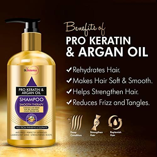 StBotanica Pro Keratin & Argan Oil Smooth Therapy Shampoo, 300ml - Intense Hair Repair For Dry, Damaged & Color Treated Hair, No Parabens, Silicons or SLS/Sulphate