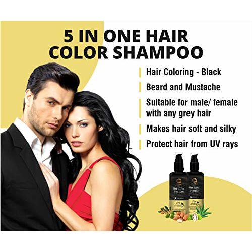 ALPHA CHOICE Hair colour shampoo (Grey hairs coloring) Black color for Men and women-200ml