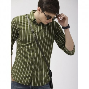 The Indian Garage Co green striped casual shirt