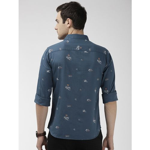 The Indian Garage Co navy blue printed casual shirt
