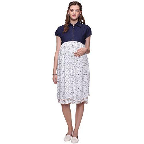 Mamma's Maternity Mamma's Women's Knee Length Maternity Dress (MAMBLMULPRNTD1636-XXL_Multicolored_XX-Large)