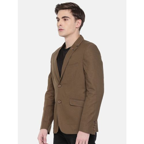 The Indian Garage Co brown cotton casual blazer