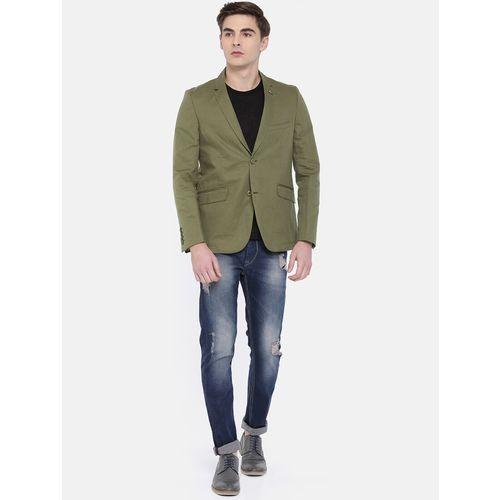 The Indian Garage Co green cotton casual blazer