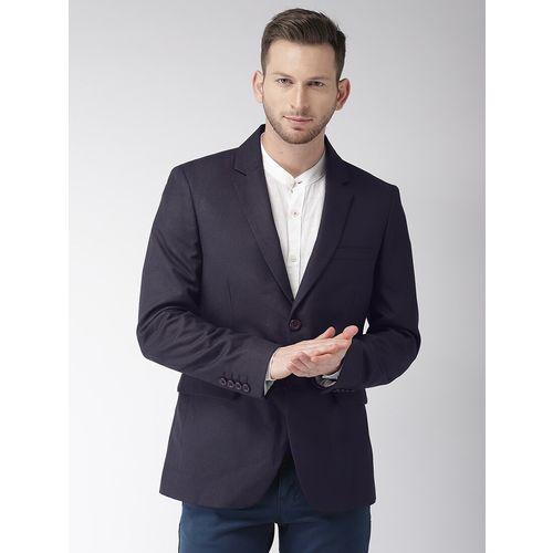 The Indian Garage Co navy blue solid formal blazer