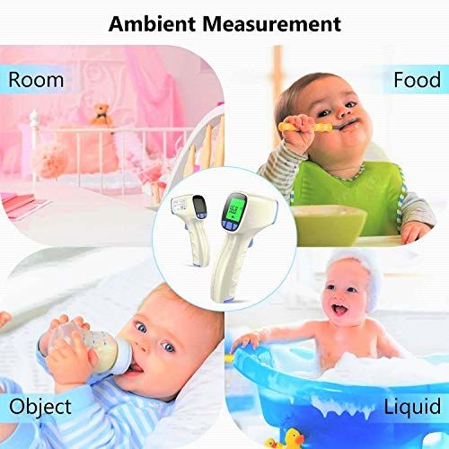TCL Non-Touch 3-in-1 Digital Infrared Forehead Thermometer with 3-Modes Body, Surface, Room w/Fever Alert Function for Infants & Adults (White)