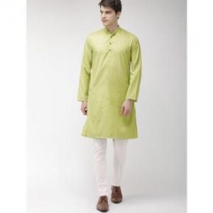 The Indian Garage Co green solid kurta pyjama set
