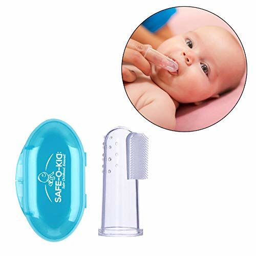 Safe-O-Kid- Extra Safe, Oral Hygiene, Transparent Silicone Finger Brush Tongue Cleaner for Baby Teething/Gums with Attractive Case- Blue