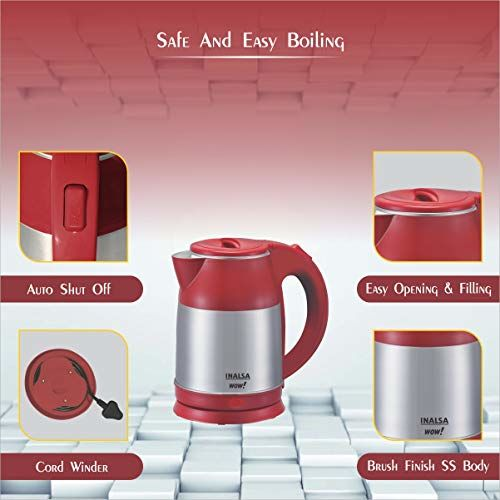 INALSA Electric Kettle WOW-1500W with 360 Cordless Base, Boil Dry Protection & Auto-Shut Off| Dual Finish Body & Concealed Heating Element| In-Built Filter