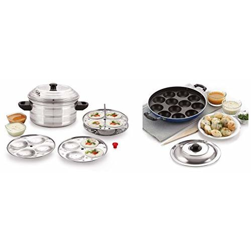 BMS Lifestyle Non-Stick 12 Cavity Appam Patra Side Handle with lid, Color May Vary + BMS Lifestyle 4-Plates Stainless Steel Idly Maker/Cooker (4-Plates, 16 Idlis)