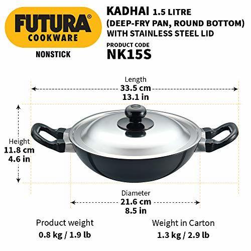 Hawkins - Q19 Futura Non-Stick Deep-Fry Pan (Kadhai) with Stainless Steel Lid, 22cm