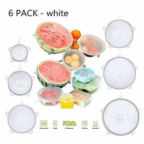 Taqila Set of 6 Reusable Safety Silicone Stretch Dishwasher Microwave and Freezer Safe Lids Flexible Covers for Rectangle Round Square - Bowls Dishes Plates