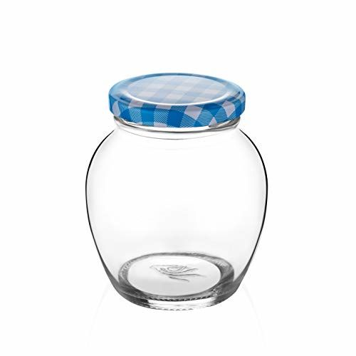 STAR WORK Matka Glass Jar for Storage of Spices and Dry Fruit, Air Tight Blue Checks Metal Lid Set of 6 (Blue Checks - 400 ml)