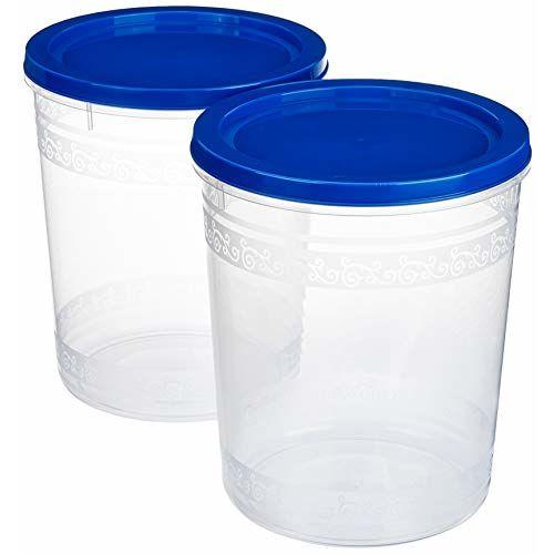 Amazon Brand - Solimo 2-Piece Kitchen Storage Container Set, 7.5 litres, Blue Lid