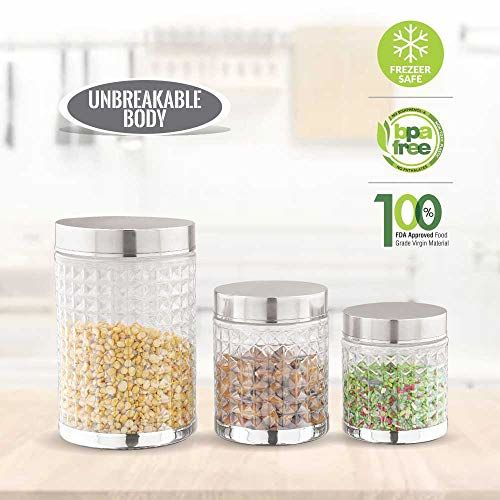 Sky Hector Celebration 12 Pcs Storage Pet Container Gift Set for Kitchen (300 ml x 4, 600 ml x 4, 1250 ml x 4),Silver