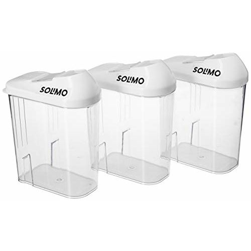 Amazon Brand - Solimo Plastic Storage container Set with sliding mouth (Set of 3, 750 ml)