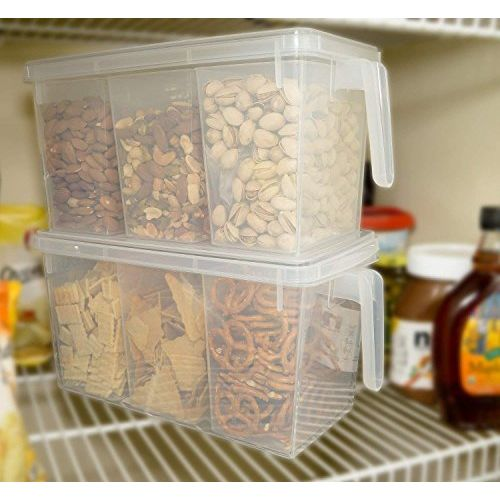 Samplus Mall Pack of 1 Refrigerator Organizer Container Square Handle Food Storage Organizer Boxes - Clear with Lid, Handle and 3 Smaller Bins