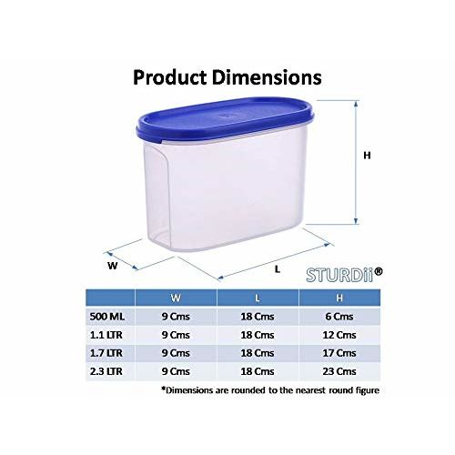 Sturdii Kitchen Storage Container Set, Plastic Airtight Containers for Storage of Dal   Plulses   Cereals, Oval Blue Lid,1.1Litre (1 Kg),Set of 12