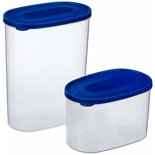 Amazon Brand - Solimo Set of 2 Kitchen Storage Containers (1650 ml, 950 ml), Blue