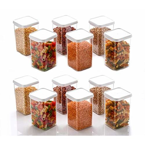 MR Products Cereal Dispenser Easy Flow Storage Jar 1100 ml, Idle for Kitchen- Storage Box Lid Food Rice Pasta Pulses Container, Square Containers for Kitchen Set of 12