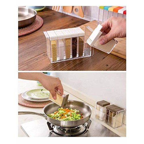 Souxe Spice Jar 6 Pcs Set, Cereal Dispenser Easy Flow Storage, Idle for Kitchen- Storage Box Container - Pack of 1