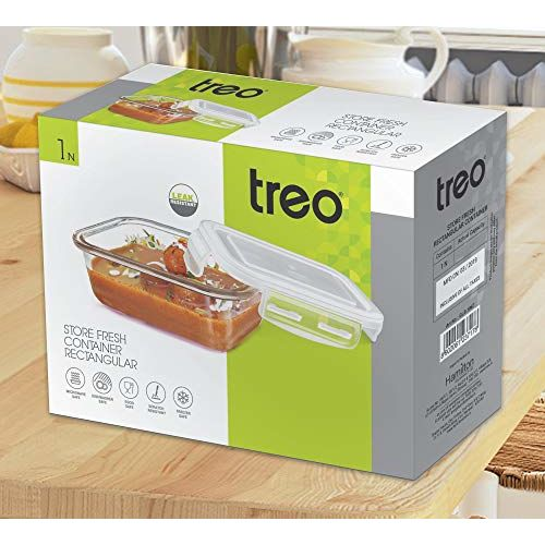 Treo By Milton Store Fresh Rectangular Glass Storage Container, 940 ml