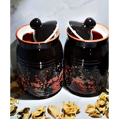 SHIVOW Ceramic Pickle Jars Set of 2, Ceramic Jars for Kitchen Storage,Ceramic Jars for Dining Table (Black 3D Texture)