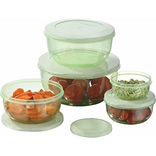 INVOSS Plastic Airseal Microwave and Freezer Safe Kitchen Storage Container Set (290 ml, 580 ml, 1000 ml, 1700 ml, 2700 ml, Multicolour)