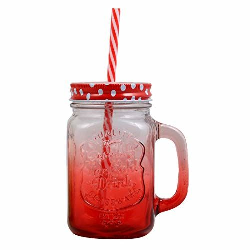 Wonderchef - 63152771 Mason Glass Jar Set, 450ml, Red and Green