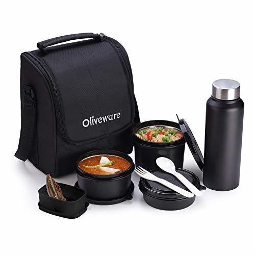 Oliveware Teso Lunch Box with Bottle - Black | 3 Stainless Steel Containers and Pickle Box and Assorted Steel Bottle | Insulated Fabric Bag | Leak Proof