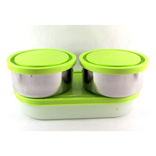 Milton Executive Lunch Box Soft Insulated Tiffin Box (2 SS Container,1 Microwave Safe Container),Gre & Double Decker Plastic Lunch Box, Purple Combo