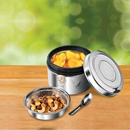 NanoNine Local Byte Double Wall Insulated Stainless Steel Lunch Box with Steel Lid, 300 ml, 1 pc