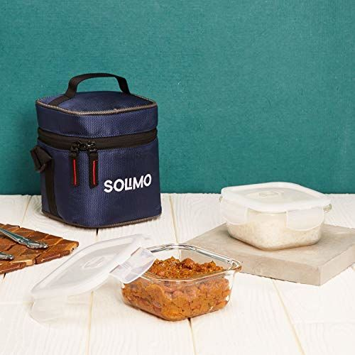 Amazon Brand - Solimo Glass Lunch Box Set with Sliding Air Vents and Bag (2 pieces, 350ml)