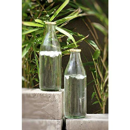 Satyam Kraft 4 Pcs 1 Liter Designer Milk Glass Bottle with Golden lid for Milk, Juice, Coco, Milk Shake, Water, Storage, Restaurant, Fridge Storage, Fridge
