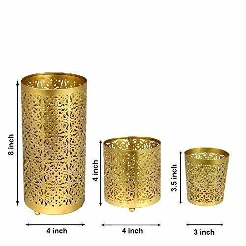 LightHaus Candles Lighthaus Candle Holders Metallic - Set of 3 with Free 6 Scented Tealight Candles