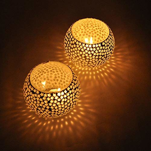 TIED RIBBONS Pack of 4 Mosaic Glass Votives Tealight Candle Holders for Side or Center Table Dining Room Lighting Home Decoration and Gifts(Glass, Pack of 4)