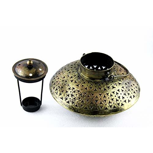 Interio Crafts Cast Iron Degchi Style Incense Holder for Home and Pooja Room Decor (9(L) x 9(B) x 6(H) inches, Antique Golden Brown)