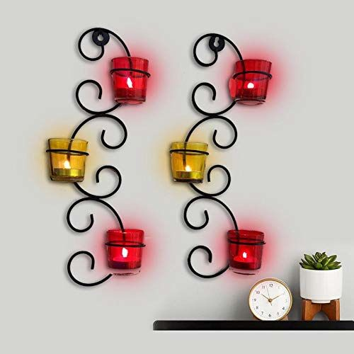 The Purple Tree Iron Wall Sconce Colorful Diwali Tealight Holder with 6 Glass (Pack of 2) Diwali tealight Candle Holder, tealight Holder, Diwali Decoration,