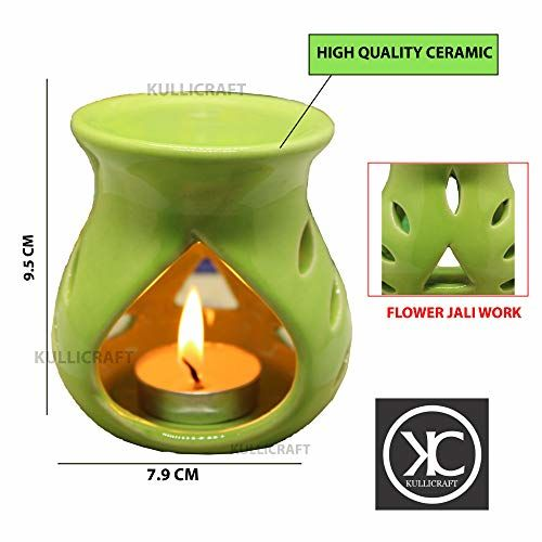 KC Kullicraft Ceramic Aroma Diffuser Oil Burner Clay Lamp Wax Warmer Tea Light Holder for Home Decor, Free 1 Candle Tea Light - Combo Pack (1 Black + 1 Green)
