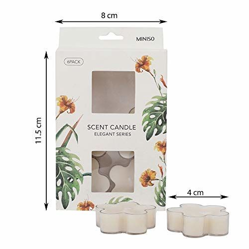 MINISO Inkiet Series Scented Candles 6 Pack Flower-White