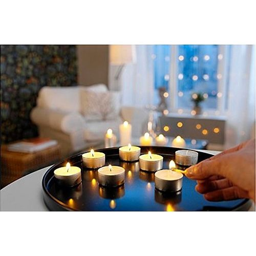 Enjoy the celebration people Wax Tealight Candles (6 Grams, White, 2 Hours Burn Time) (Pack of 50)