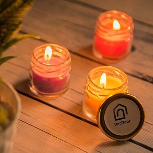 DecDoor Mini Jar Scented Smokeless Candles Pack of 6 for Home Decor Christmas Spa Candles (Vanilla Bean, Jasmine, Sandalwood, French Rose, Lavender, Lemon